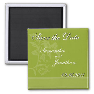 Save the Date Olive Green Ribbon Magnet