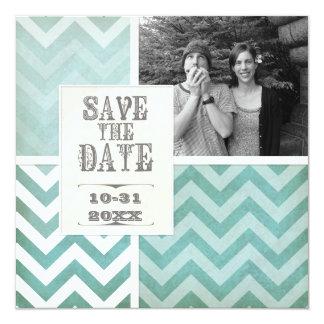 Save the Date - Ombre Chevron Stripe Zig Zag Photo 5.25x5.25 Square Paper Invitation Card