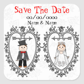 Save the date or thank you favor sticker,edit text square stickers