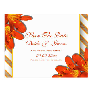 """Save the date"" orange yellow red garden Post Cards"