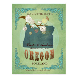 Save The Date - Oregon Map With Lovely Birds Postcard