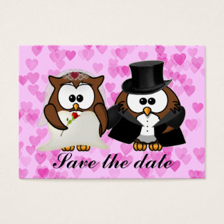 save the date owl business card