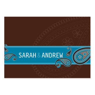 SAVE THE DATE :: Paisley - choc & teal Large Business Cards (Pack Of 100)