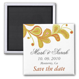 Save the Date Paisley White Magnet