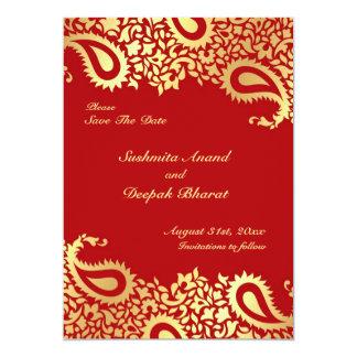 Save the Date Paisleys Elegant Indian Flat Card