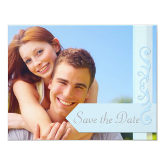 """Save the Date Pale Blue and Grey 4.25"""" X 5.5"""" Invitation Card"""