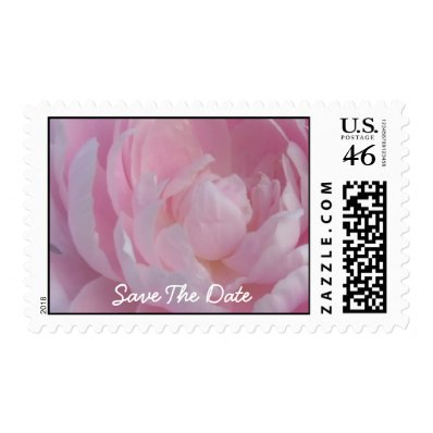 Save The Date Pale Pink Peonies Wedding Postage