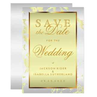 Save the Date Pale Yellow Marble, Gold and White Card