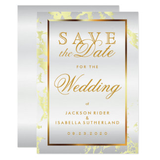 Save the Date Pale Yellow Marble, White and Gold Card