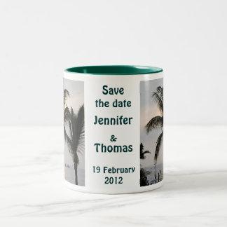 Save the Date palm tree Two-Tone Coffee Mug