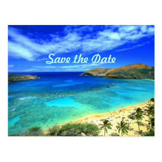 Save the date paradise postcard
