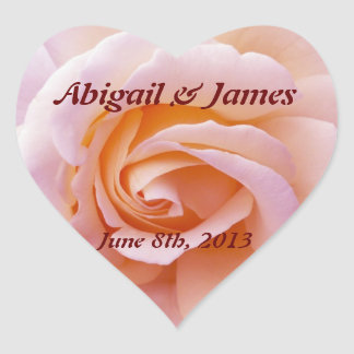 save the date peach & pinky rose heart sticker