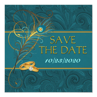 Save the Date Peacock Teal Wedding Card