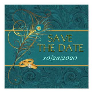 Save the Date Peacock Teal Wedding with Gold Card
