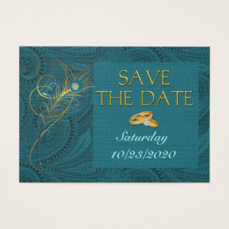 Save the Date Peacock Wedding Cubby Mini Cards