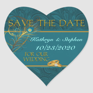 Save the Date Peacock Wedding Stickers