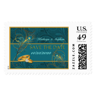 Save the Date Peacock Wedding Teal and Gold Postage
