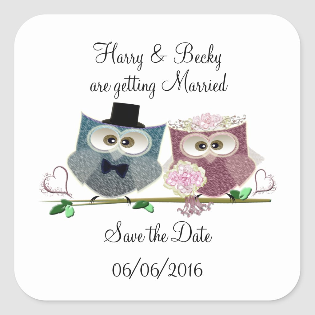 Save the Date Personalise Stickers with Cute Owls