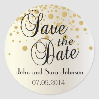 Save the Date | Personalize Classic Round Sticker