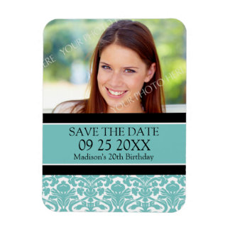Save the Date Photo Birthday Magnet Aqua Damask