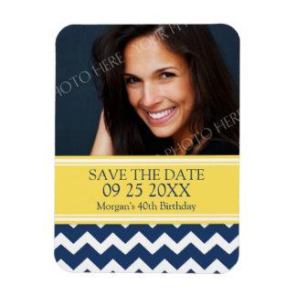 Save the Date Photo Birthday Magnet Blue Chevron