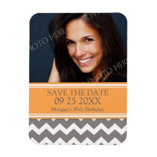 Save the Date Photo Birthday Magnet Grey Chevron