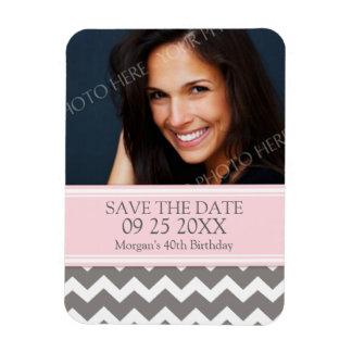 Save the Date Photo Birthday Magnet Pink Chevron