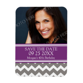 Save the Date Photo Birthday Magnet Purple Chevron