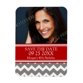 Save the Date Photo Birthday Magnet Red Chevron