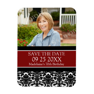 Save the Date Photo Birthday Magnet Red Damask