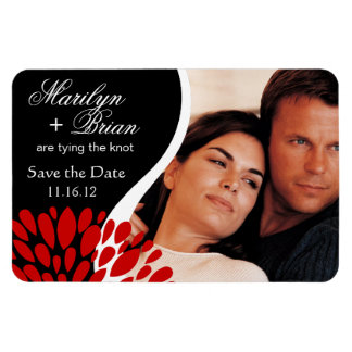 Save the Date Photo   black red Rectangular Photo Magnet