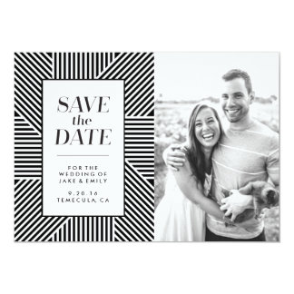 Save the Date photo card, bold stripes Card