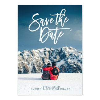Save the Date photo card, brush script Card