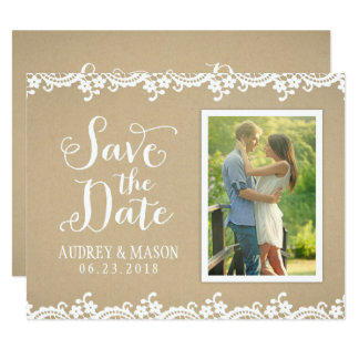Save the Date Photo Card | Lace and Kraft