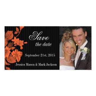 Save The Date Photo Card Orange Flowers
