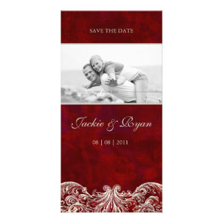 Save the Date Photo Card Template Red Rose Garden