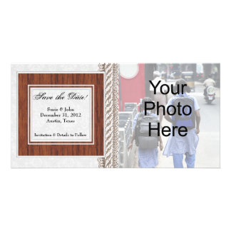 Save the Date Photo Card, White Wedding Frame