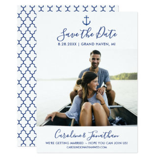 Save the Date Photo Classic Blue Nautical Anchor Card
