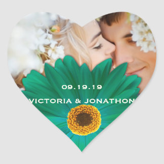 Save the Date Photo Emerald Gerber Daisy Wedding Heart Sticker