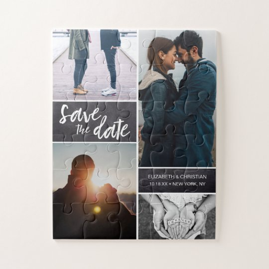 Save the date Photo Engagement Jigsaw Puzzle
