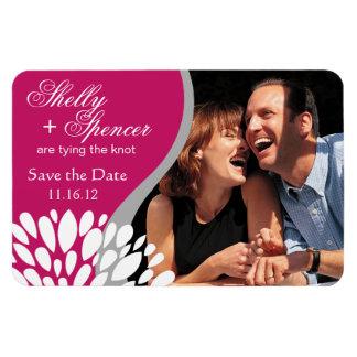 Save the Date Photo   fuschia grey white Rectangular Photo Magnet