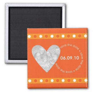 Save the Date Photo Heart Magnet - Orange