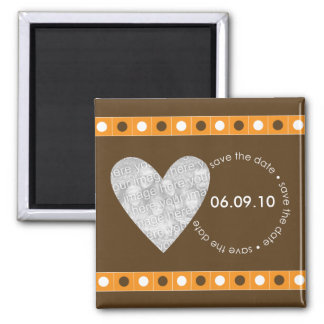 Save the Date Photo Heart Magnet - Orange & Brown