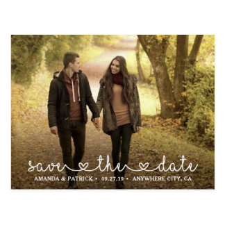 Save the Date Photo Heart Typography Wedding Postcard