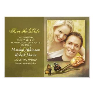 "save the date photo invitation with vintage design 5"" x 7"" invitation card"