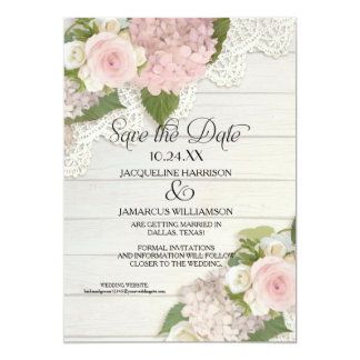 Save the Date Photo Lace Pink Hydrangea Wood Fence Card