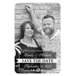 Save the Date Photo Modern Beach Wedding Rectangle Magnet