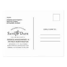 Save the Date Photo Modern Typography Wedding Postcard