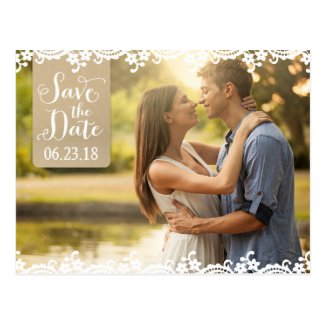 Save the Date Photo Postcard | Lace and Kraft