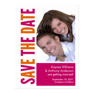 Save The Date Photo POSTCARD! Orange & Pink